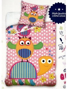 Owl Elephant & Snail cot bed bedding set