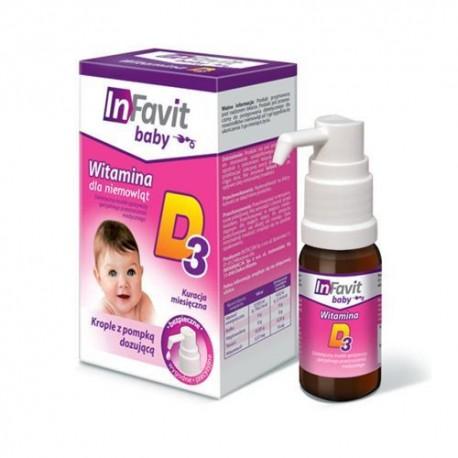 INFAVIT baby Witamina D3 krople z pompką dozującą - 10 ml
