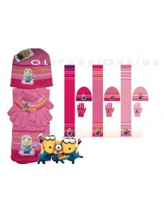 Minions girls winter hats gloves Scarf 4-8years pink