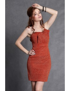 4102-2 of the shining Crash dress with pleats on the bust with lining - orange