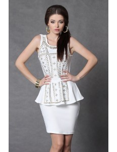 4009-3 vest dress with gold glitter - white