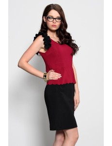 3920-2 Vest dress with decorative frills - dark pink