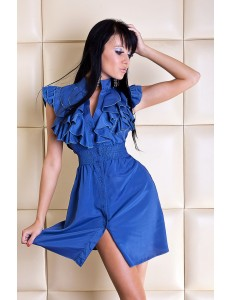 2111-2 Elegant dress with buttons - blue