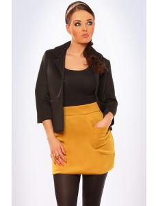 3011-2 Skirt lined with pockets on the front - mustard