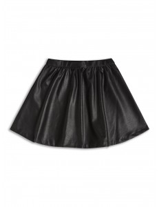 Girls black skirt leather effect